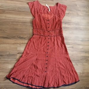Anthropologie Coral Button Up A-line Vintage Dress